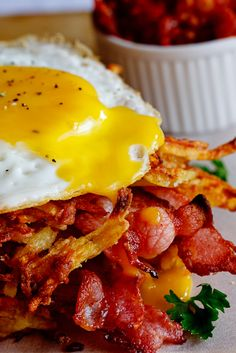 Potato Rösti, Bacon & Egg stacks with Tomato relish