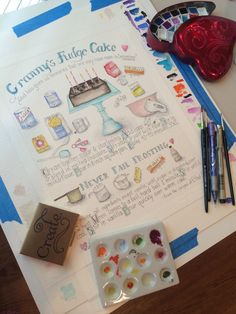 Granny's Fudge cake in watercolors. One of those great old southern recipes! I love illustrated recipes and want an entire wall of these!