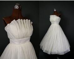 vintage 50's chiffon ruffled tea length wedding dress $580