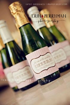 Personalized Mini Champagne labels for parties and wedding favors. Especially  great for New Years and Holiday parties!