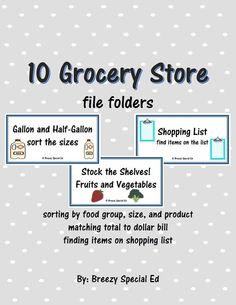 10 Grocery Store themed file folders