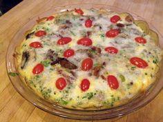 Crustless Zucchini, Corn and Tomato Quiche with Feta