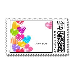 "Vibrant Hearts ""I love you"" Postage"