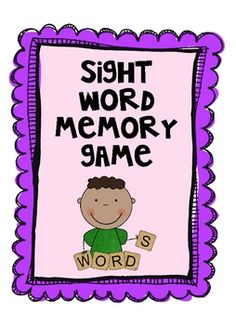 Sight Word Memory Game for Kindergarten - Second Grade