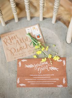 neutral toned envelopes and calligraphy