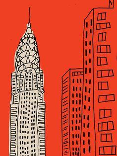 chrysler travel, cityscap, new york illustration, buildings, building drawing, citi, chrysler building, print, 1920s art