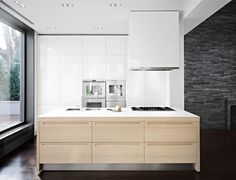 Modern Residence Design: Bayside Area Residence in NY: Sleek Modern Small Kitchen White Cupboard Bayside Residence In NY