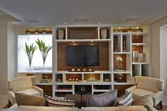Sala de TV Painel para televisão + estantes