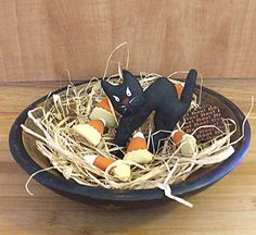 Primitive Halloween Folk Art Cat and Candy Corn by Skunkhollow, $15.00