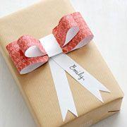 Use those brown graocery bags.  Printable bows.