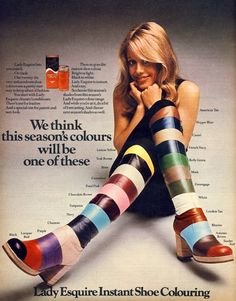 Advertisement for Lady Esquire leather shoe paint, 1974.