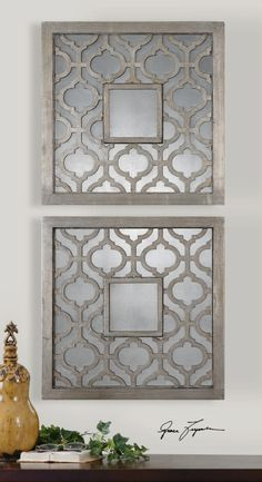 Antique silver leaf with black undertones and antique mirrors wall decor - Love these