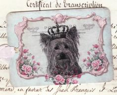 Vintage French Gift Tags Yorkie Dog Puppy by by Bluebirdlane