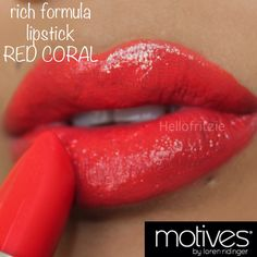 Boost your look with a sassy coral. Motives Rich Formula Lipstick - Red Coral http://www.motivescosmetics.com/steveg/learn/get-the-look/motives-rich-formula-lipstick-red-coral/63?