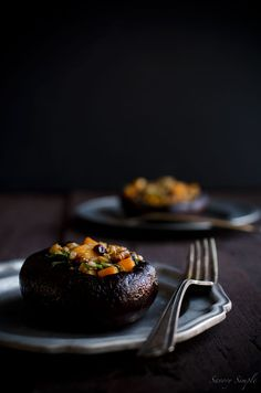 These Winter Salad Stuffed Portobello Mushrooms are a healthy, simple, tasty side dish!
