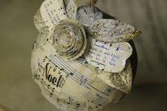 Vintage sheet music Christmas ornament