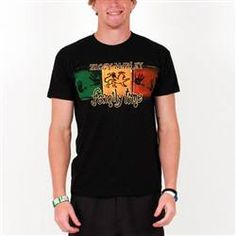 This black Ziggy Marley Men's Tee features red, gold, and green squares with hand prints and the Lion of Judah in the center. Ziggy Marley and family time are printed on the front as well.