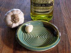 Garlic grater bowl for olive oil dipping Green glaze. $15.00, via Etsy.