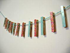 Modern Moms One Dozen Washi Tape Cloths Pins by Msapple on Etsy