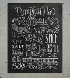 holiday, food, art, fall, pumpkins, chalkboard, pie recipes, print, pumpkin pies