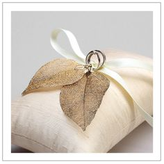 Real leaves I - antique gold plated leaves on ivory silk dupioni wedding ring pillow