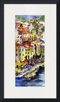 """Riomaggiore Italy Cinque Terre Watercolor by Ginet"" by Ginette Callaway, Lovejoy // Colorful watercolor and ink painting by Ginette Callaway // Imagekind.com -- Buy stunning fine art prints, framed prints and canvas prints directly from independent working artists and photographers."