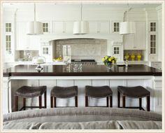 interior, traditional kitchens, dream, open kitchen, bar stools, white cabinets, kitchen islands, kitchen designs, white kitchens