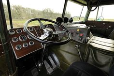 The interior of a Peterbilt 352 cabover.
