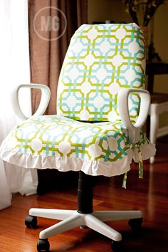 @Maggie Massey took her office chair from drab to fab with @Waverly fabric! #waverize