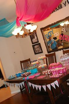 mirror, baby gender, gender reveal parties, girl baby showers, gender party, boy, parti idea, babi shower, banners