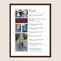 Childs Questionnaire, Capture Your Kids Personalities at Birthdays, Back to School, or in Another Special Milestones Interview - 8x10 Print