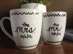 Personalized Coffee Mugs, Mr. & Mrs.. $15.00, via Etsy. Could easily DIY this with a Pebeo Vitrea 160 Marker and good handwriting!! :)