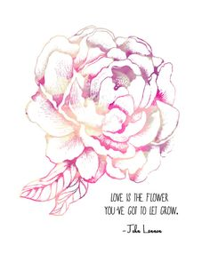 John Lennon Quote Pink Peony Flower  8x10 by LeslieSabella on Etsy, $20.00