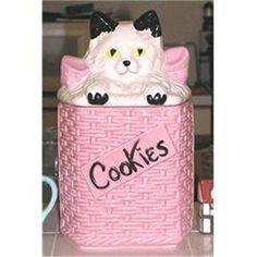 McCoy Cat in a Pink Basket Cookie Jar