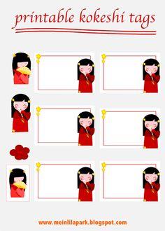 FREE printable kokeshi doll stickers and tags