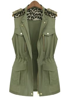 Army Green Sleeveless Contrast Leopard Epaulet Vest US$31.64