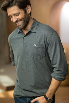 Your favorite polo just got better! Bali High Tide Long-Sleeve Polo, by Tommy Bahama
