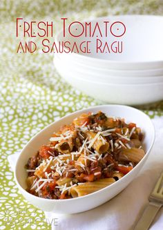 Homemade Pasta Sauce with FRESH Tomatoes and Italian Sausage   ASpicyPerspective.com #tomato #pasta
