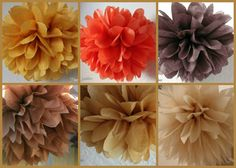 Tissue Paper Poms - This is what I had in mind for Fall, Penny. I want to incorporate some small tree branches hanging from the ceiling here and there too.
