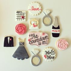 Custom engagement giftcountdown to the wedding sugar cookie set USD50 ...