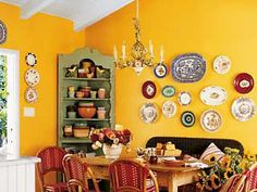 Bright yellow kitchen with dish collection