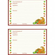 Recipe Cards for Favorite Thanksgiving Dishes printabl