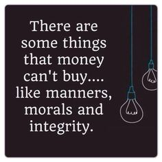 Manners morals and integrity
