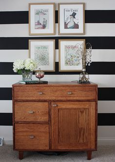 love the striped wall!!