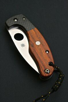 Handmade custom Spyderco folding knife with carbon fiber and wood