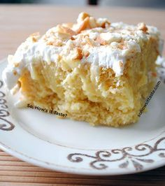 Banana Pudding Poke Cake by So, Hows It Taste - yellow cake mix, banana pudding, whipped topping, Nilla Wafers