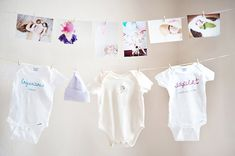 First birthday party- hang photos and outgrown clothes from baby's first year
