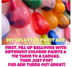 Balloons splatter paint art fun summer DIY craft