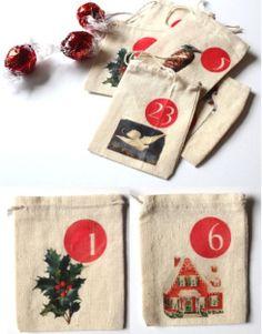 DIY advent calendar ~ freebie graphics to iron onto little muslin bags
