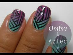 I love making ombre designs and aztec nail art! I really wanted to add these two design together. Im happy with the way it came out :) Its very easy and lovely!  I got the Zoya nail polishes from http://www.enails.eu/  Products used:  Zoya green: Wednesday Zoya pink: Lara Zoya purple: Reagan Black striper  If you have any questions you can alw...